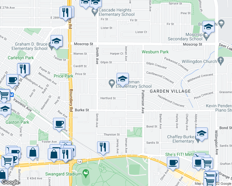 map of restaurants, bars, coffee shops, grocery stores, and more near 3940 Brandon Street in Burnaby