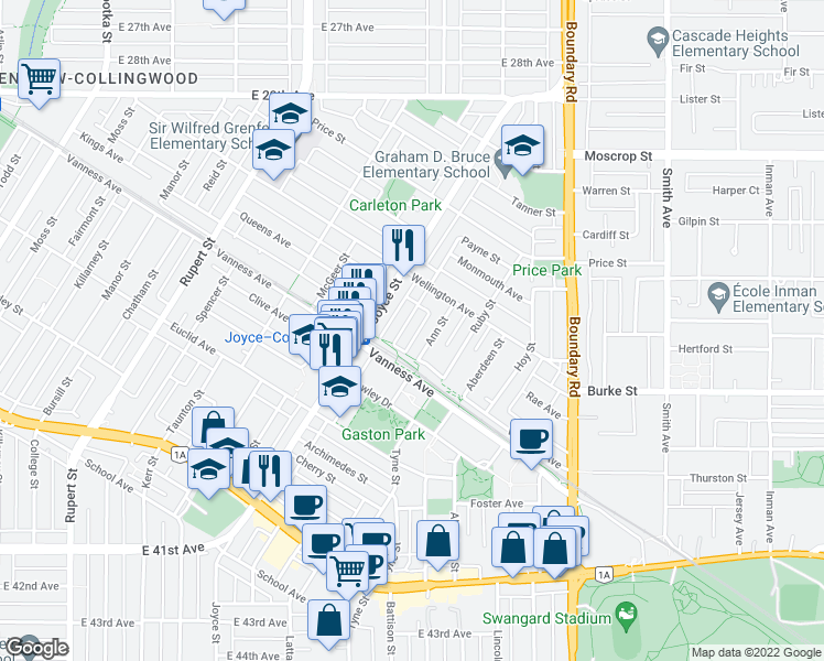 map of restaurants, bars, coffee shops, grocery stores, and more near 5050 Payne Street in Vancouver