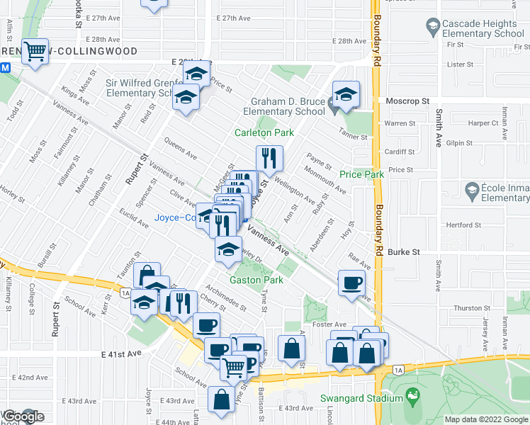 map of restaurants, bars, coffee shops, grocery stores, and more near 5045 Payne Street in Vancouver