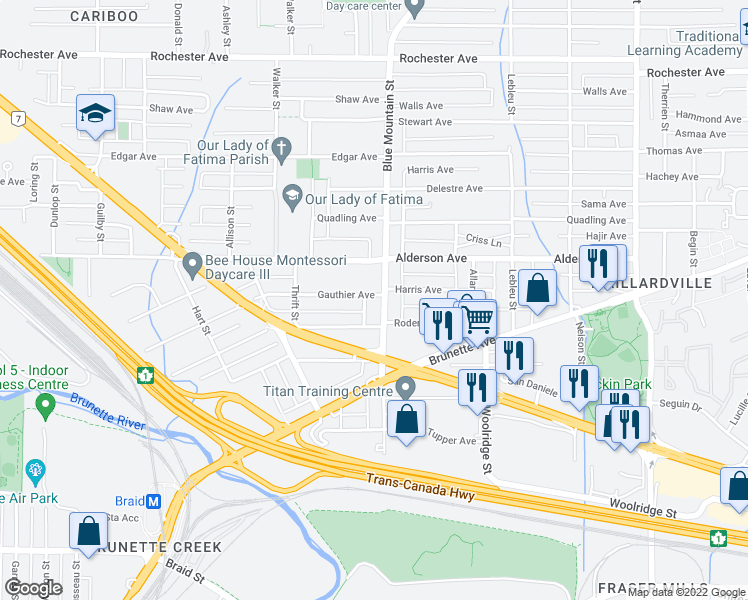 map of restaurants, bars, coffee shops, grocery stores, and more near 888 Gauthier Avenue in Coquitlam