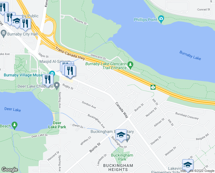 map of restaurants, bars, coffee shops, grocery stores, and more near 7751 Rayside Street in Burnaby