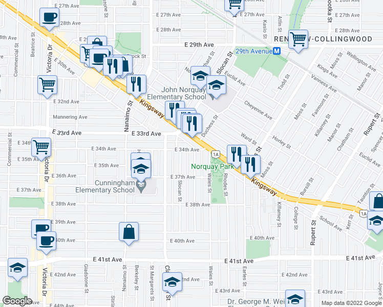 map of restaurants, bars, coffee shops, grocery stores, and more near 5011 Chambers Street in Vancouver
