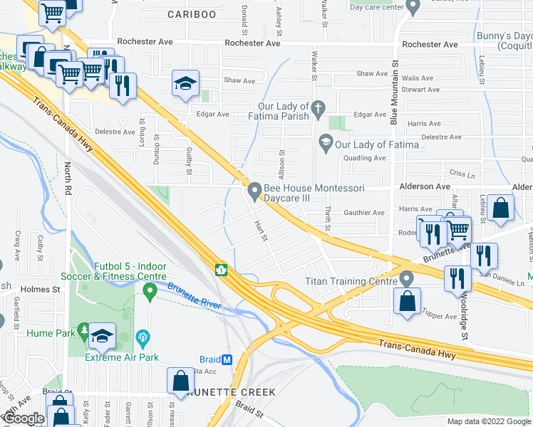map of restaurants, bars, coffee shops, grocery stores, and more near 705 Girard Avenue in Coquitlam