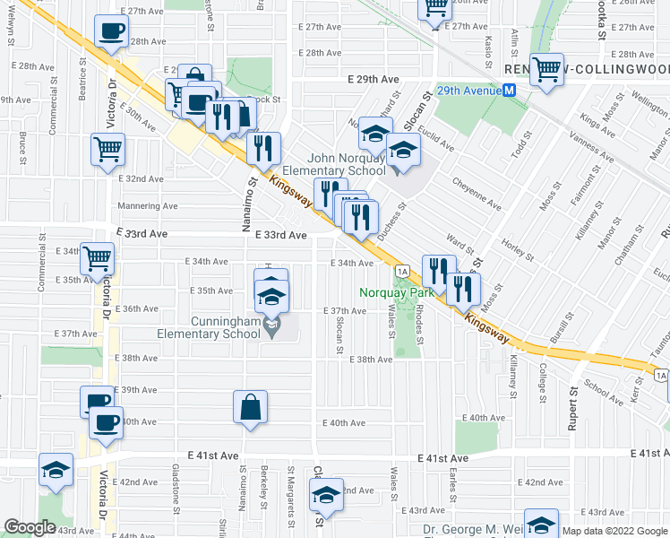 map of restaurants, bars, coffee shops, grocery stores, and more near 5015 Slocan Street in Vancouver