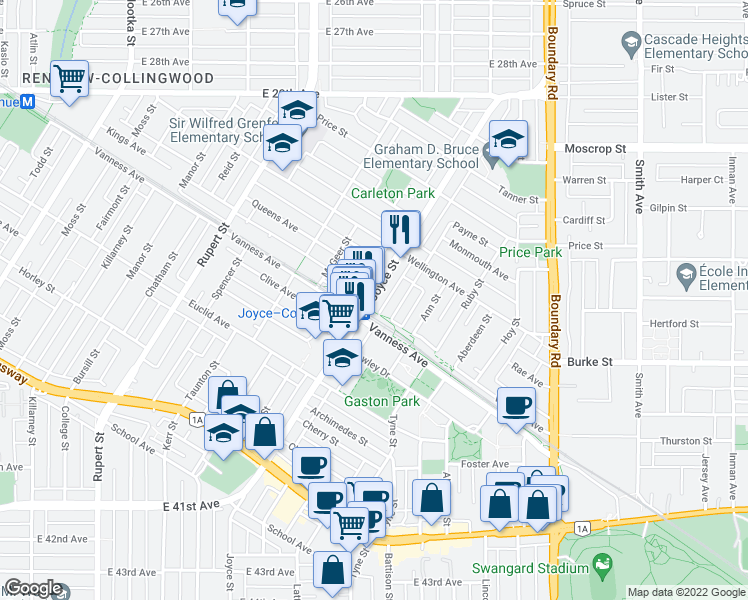 map of restaurants, bars, coffee shops, grocery stores, and more near 5058 Joyce Street in Vancouver