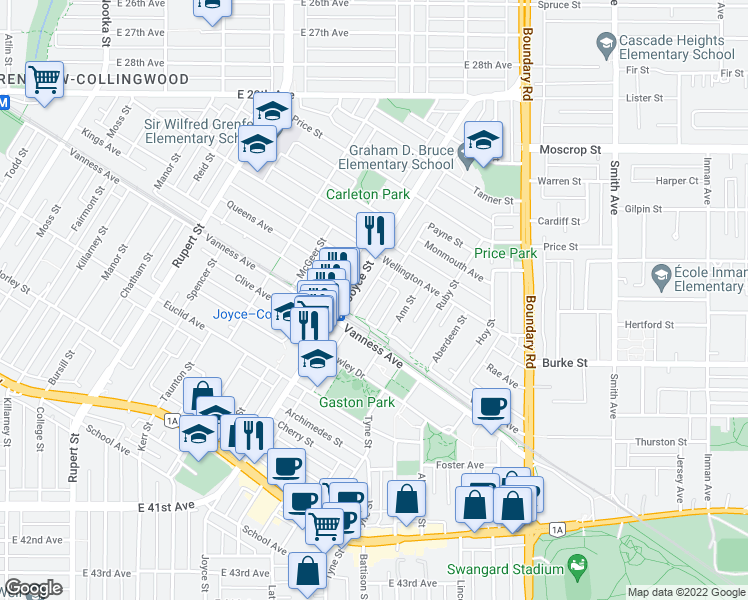 map of restaurants, bars, coffee shops, grocery stores, and more near 5029 Payne Street in Vancouver