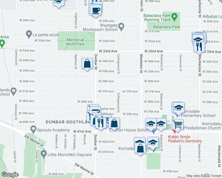 map of restaurants, bars, coffee shops, grocery stores, and more near 3531 West 37th Avenue in Vancouver