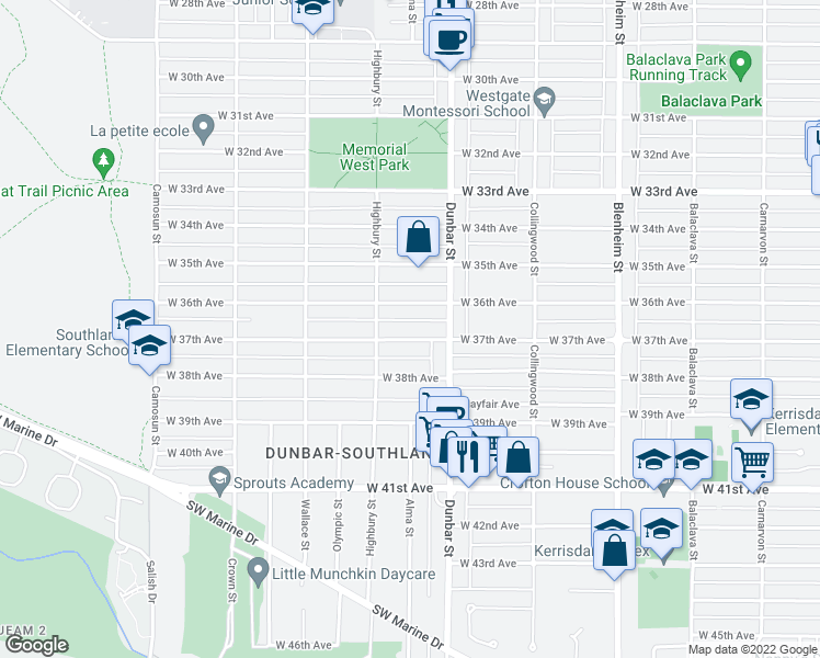 map of restaurants, bars, coffee shops, grocery stores, and more near 3707 West 37th Avenue in Vancouver