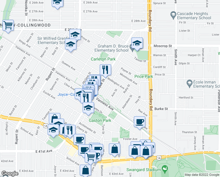 map of restaurants, bars, coffee shops, grocery stores, and more near 5008 Payne Street in Vancouver