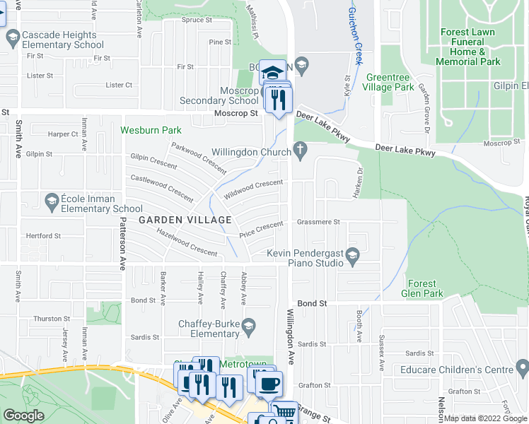map of restaurants, bars, coffee shops, grocery stores, and more near 4422 Briarwood Crescent in Burnaby