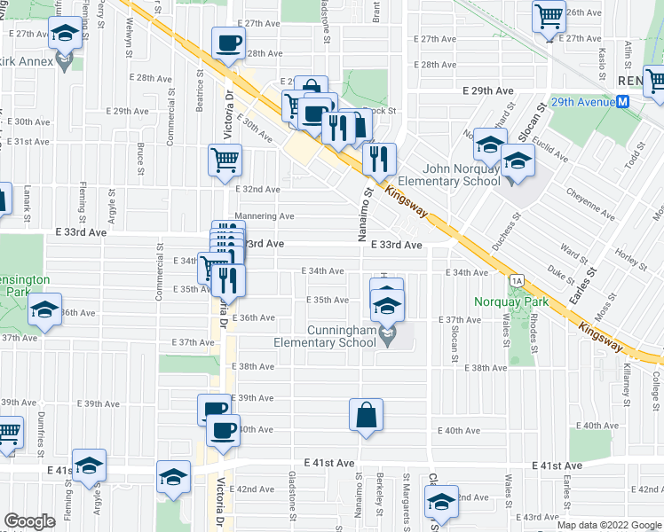 map of restaurants, bars, coffee shops, grocery stores, and more near 2233 East 34th Avenue in Vancouver