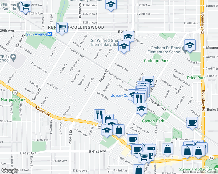map of restaurants, bars, coffee shops, grocery stores, and more near 4980 Spencer Street in Vancouver