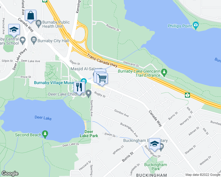 map of restaurants, bars, coffee shops, grocery stores, and more near 5152 Canada Way in Burnaby