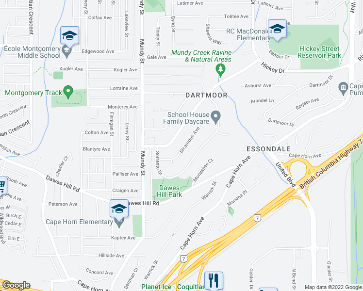 map of restaurants, bars, coffee shops, grocery stores, and more near 2240 Sicamous Avenue in Coquitlam
