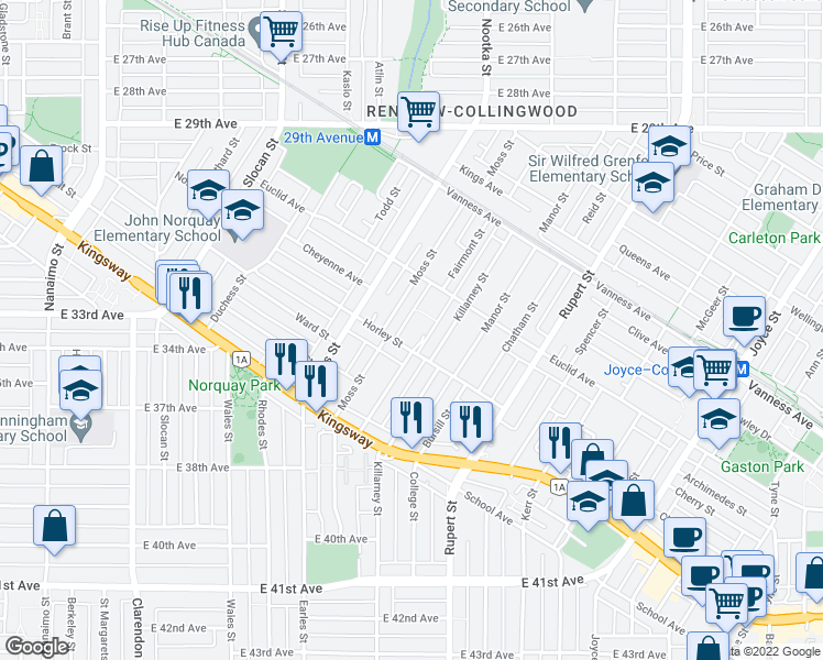 map of restaurants, bars, coffee shops, grocery stores, and more near 2965 Horley Street in Vancouver