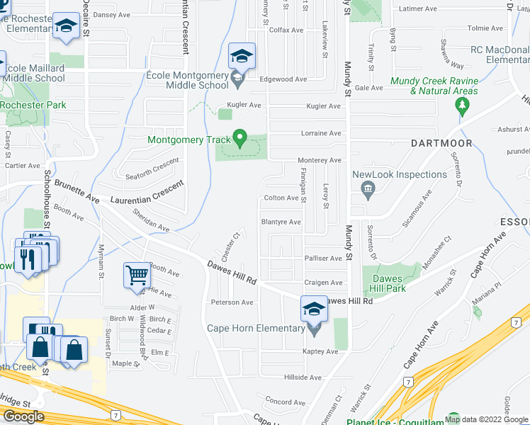 map of restaurants, bars, coffee shops, grocery stores, and more near 299 Montgomery Street in Coquitlam