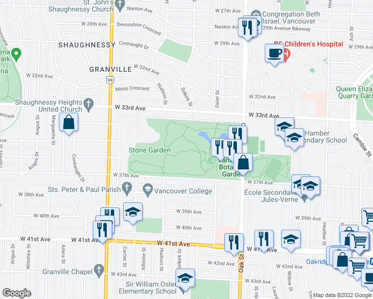 map of restaurants, bars, coffee shops, grocery stores, and more near 5251 Oak Street in Vancouver