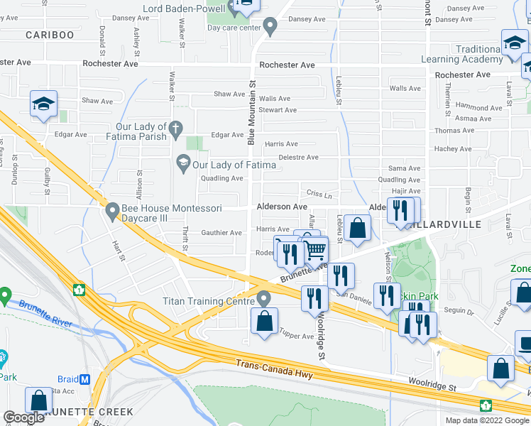 map of restaurants, bars, coffee shops, grocery stores, and more near 904 Alderson Avenue in Coquitlam
