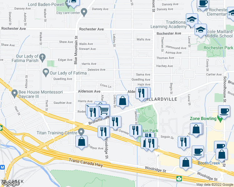 map of restaurants, bars, coffee shops, grocery stores, and more near 231 Lebleu Street in Coquitlam