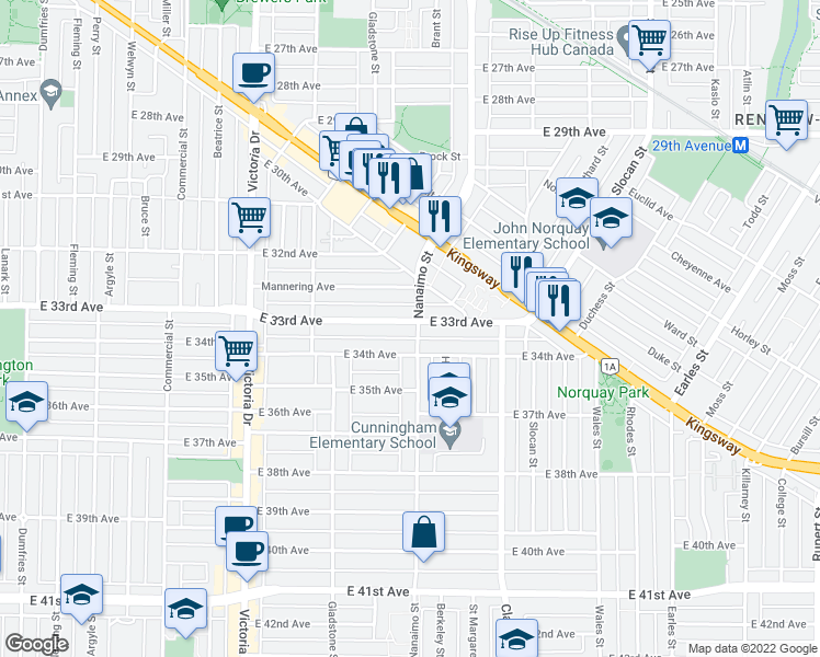 map of restaurants, bars, coffee shops, grocery stores, and more near 2288 East 33rd Avenue in Vancouver