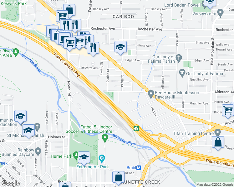 map of restaurants, bars, coffee shops, grocery stores, and more near 606 Alderson Avenue in Coquitlam