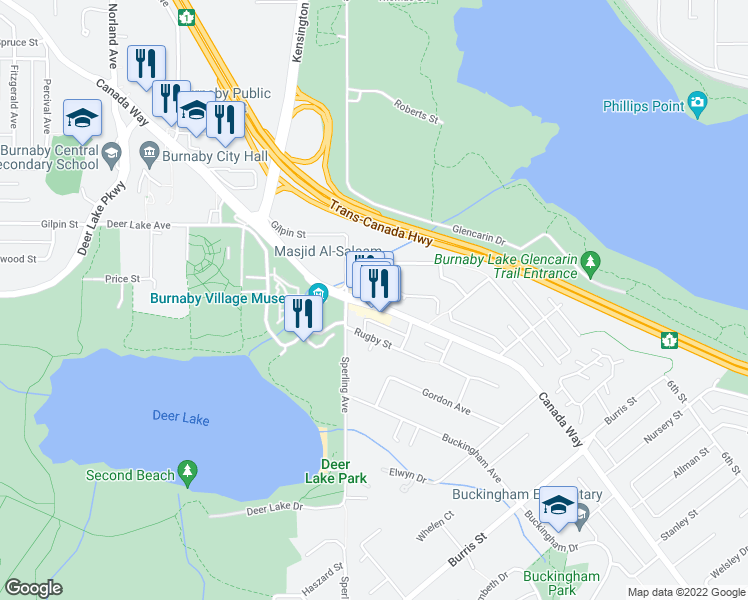 map of restaurants, bars, coffee shops, grocery stores, and more near 5070 Canada Way in Burnaby