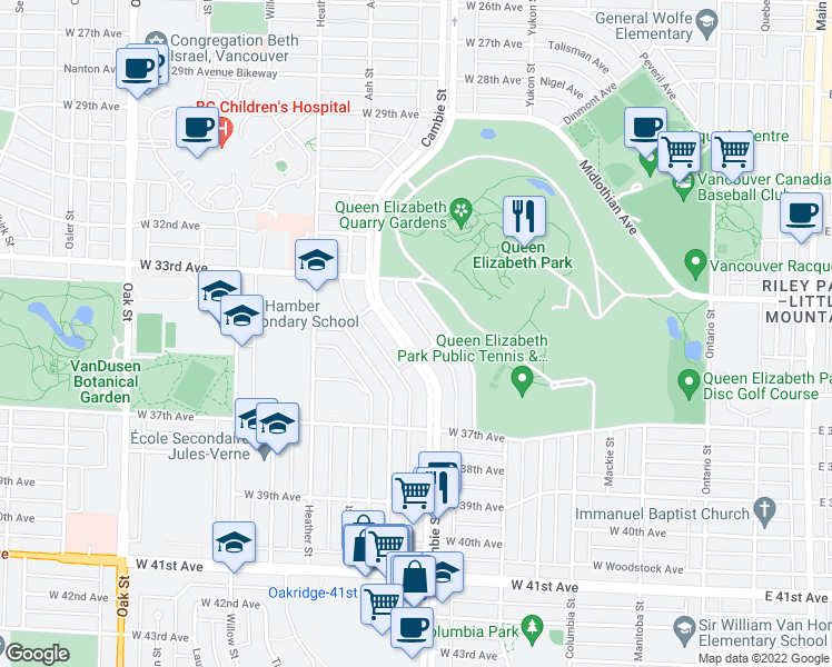 map of restaurants, bars, coffee shops, grocery stores, and more near 5050 Cambie Street in Vancouver