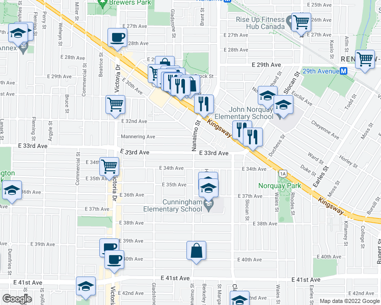 map of restaurants, bars, coffee shops, grocery stores, and more near 2292 East 33rd Avenue in Vancouver
