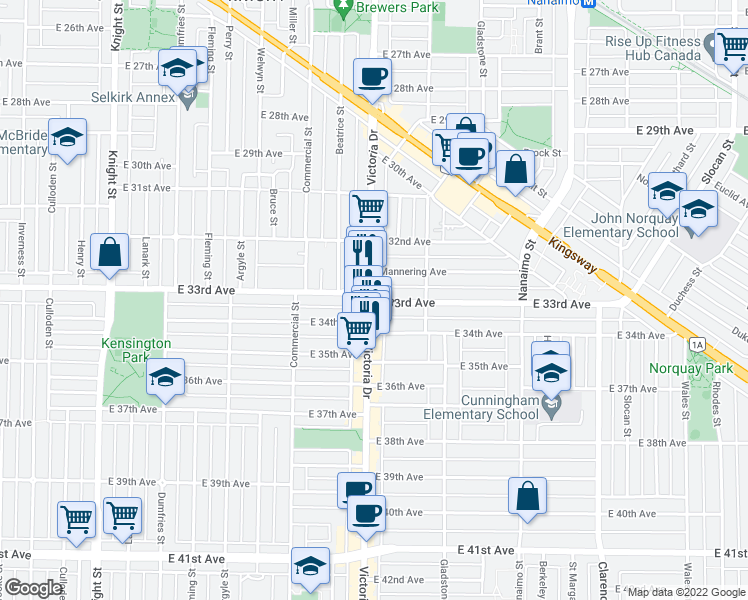 map of restaurants, bars, coffee shops, grocery stores, and more near 4902 Victoria Drive in Vancouver