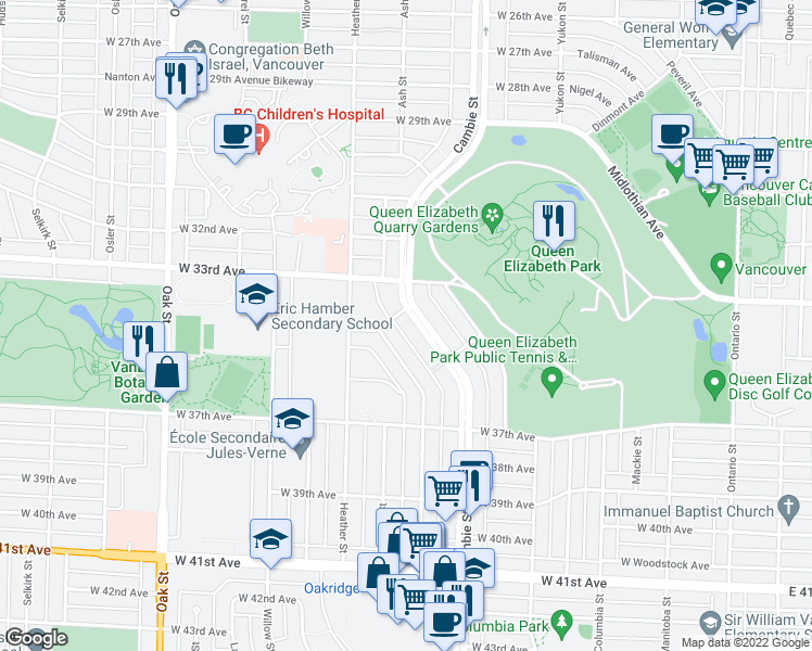map of restaurants, bars, coffee shops, grocery stores, and more near 4963 Cambie Street in Vancouver