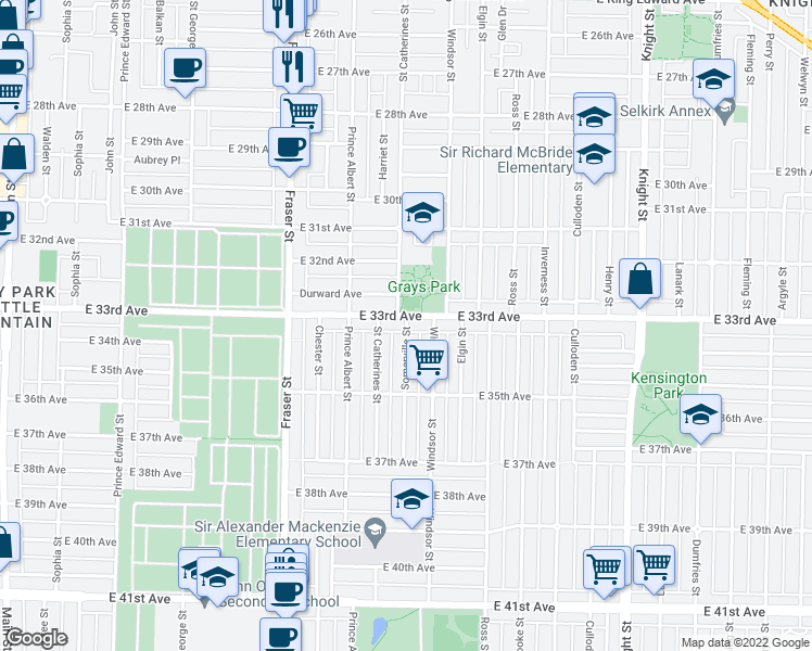 map of restaurants, bars, coffee shops, grocery stores, and more near 5033 Somerville Street in Vancouver
