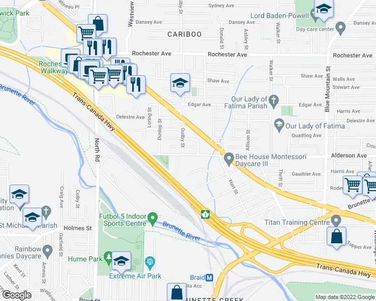 map of restaurants, bars, coffee shops, grocery stores, and more near 623 Alderson Avenue in Coquitlam