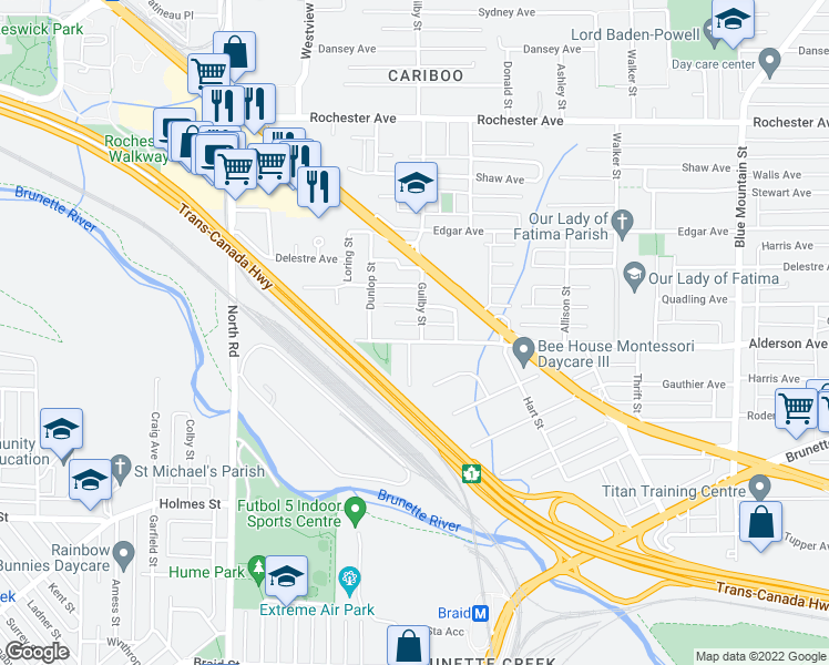map of restaurants, bars, coffee shops, grocery stores, and more near 609 Alderson Avenue in Coquitlam
