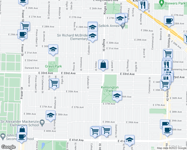 map of restaurants, bars, coffee shops, grocery stores, and more near 1340 East 33rd Avenue in Vancouver
