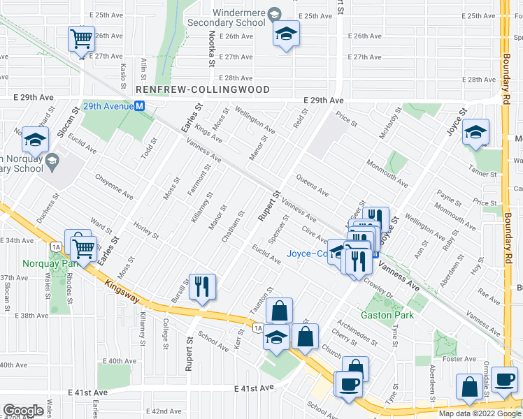 map of restaurants, bars, coffee shops, grocery stores, and more near 4919 Rupert Street in Vancouver