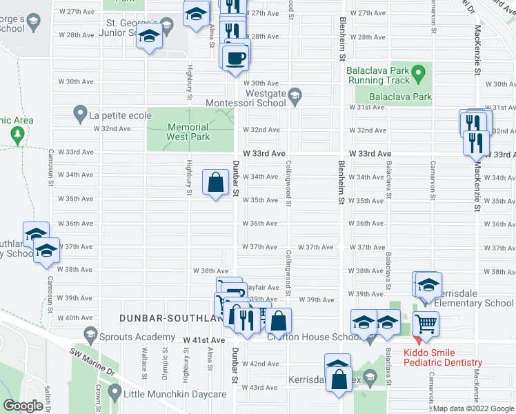 map of restaurants, bars, coffee shops, grocery stores, and more near 3558 West 35th Avenue in Vancouver