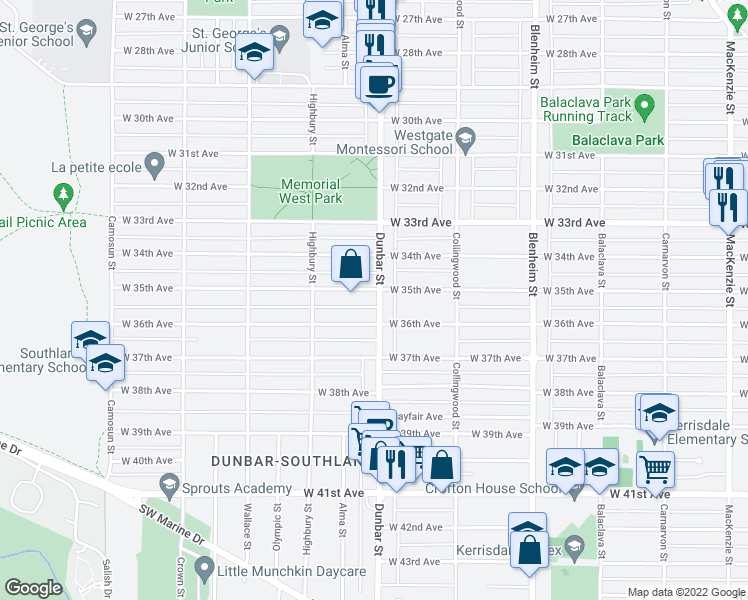 map of restaurants, bars, coffee shops, grocery stores, and more near 3608 West 35th Avenue in Vancouver