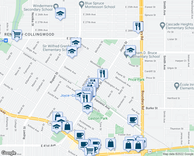 map of restaurants, bars, coffee shops, grocery stores, and more near 3480 Wellington Avenue in Vancouver
