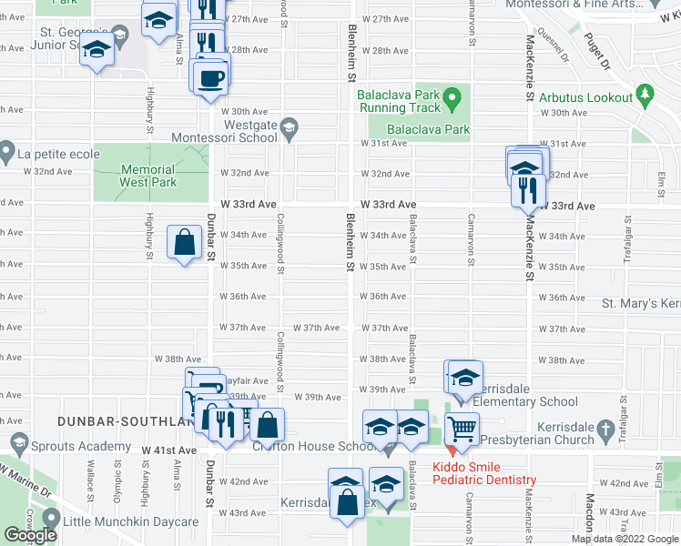 map of restaurants, bars, coffee shops, grocery stores, and more near 3322 West 35th Avenue in Vancouver