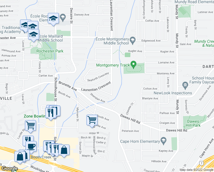 map of restaurants, bars, coffee shops, grocery stores, and more near 325 Laurentian Crescent in Coquitlam