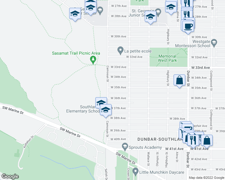 map of restaurants, bars, coffee shops, grocery stores, and more near 4080 West 35th Avenue in Vancouver