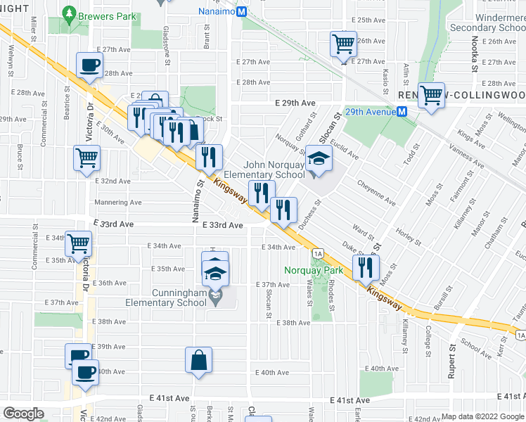 map of restaurants, bars, coffee shops, grocery stores, and more near 4933 Clarendon Street in Vancouver