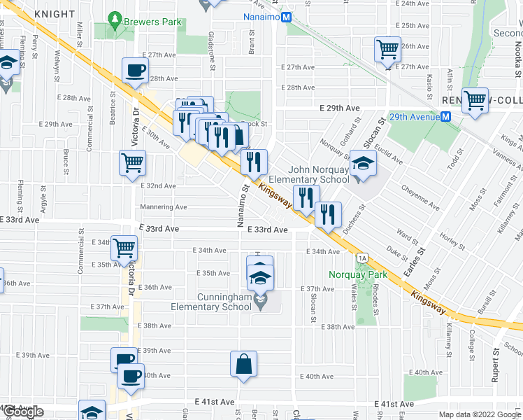 map of restaurants, bars, coffee shops, grocery stores, and more near 2377 East 30th Avenue in Vancouver