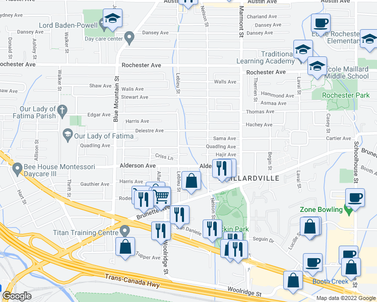 map of restaurants, bars, coffee shops, grocery stores, and more near 1008 Quadling Avenue in Coquitlam