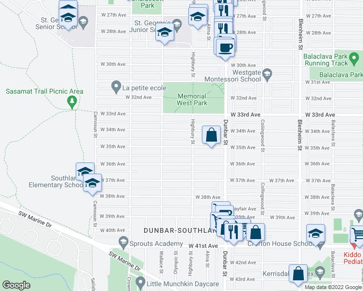 map of restaurants, bars, coffee shops, grocery stores, and more near 3839 West 35th Avenue in Vancouver