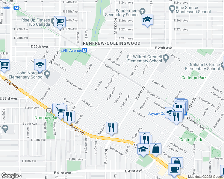 map of restaurants, bars, coffee shops, grocery stores, and more near 4849 Killarney Street in Vancouver