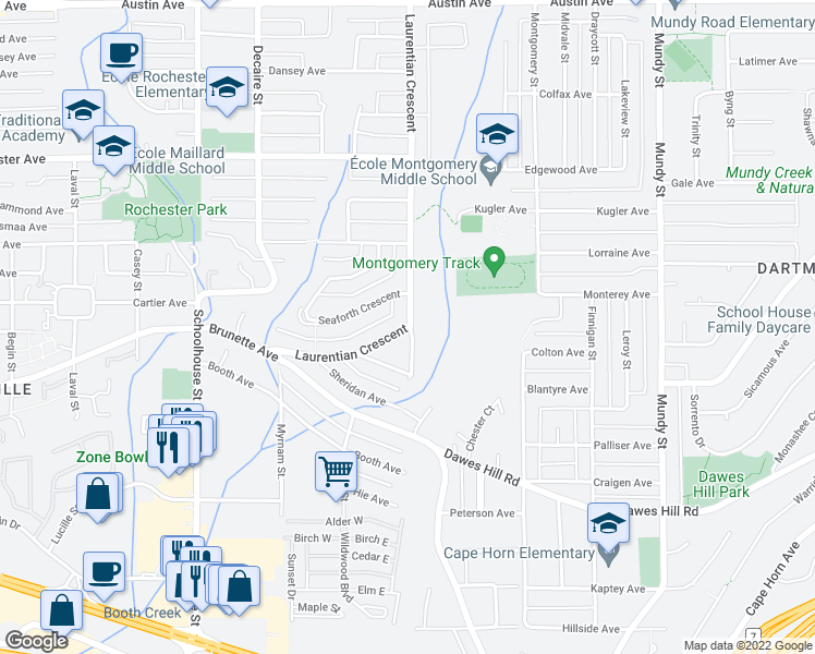 map of restaurants, bars, coffee shops, grocery stores, and more near 329 Laurentian Crescent in Coquitlam