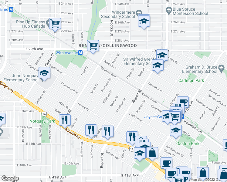 map of restaurants, bars, coffee shops, grocery stores, and more near 4826 Killarney Street in Vancouver