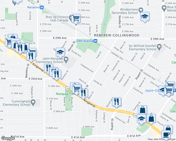 map of restaurants, bars, coffee shops, grocery stores, and more near 2826 Cheyenne Avenue in Vancouver