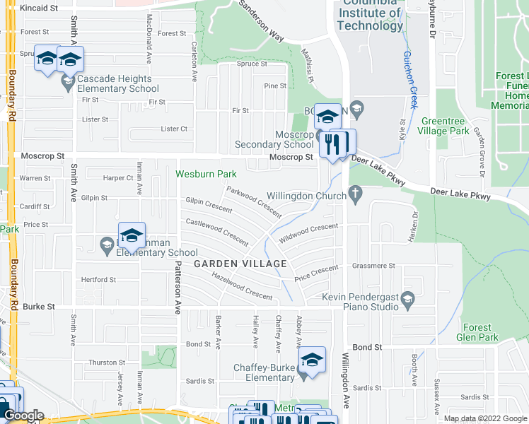 map of restaurants, bars, coffee shops, grocery stores, and more near 4306 Parkwood Crescent in Burnaby